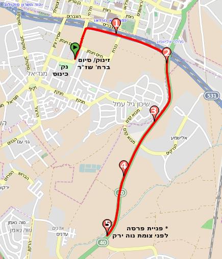 מפות המסלולים במרוץ הוד השרון ה- 6