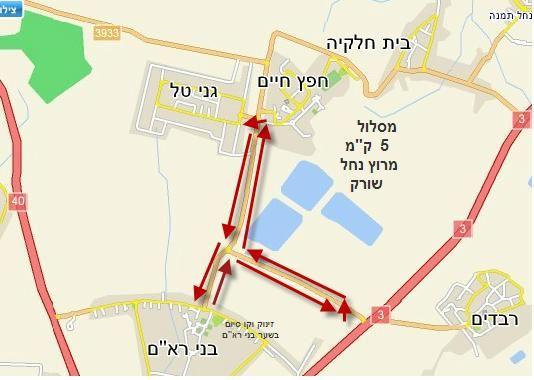 מפות המסלולים במרוץ נחל שורק ה- 10