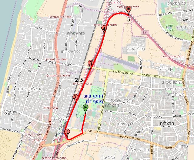 מפת מסלול מרוץ הרצליה 2017