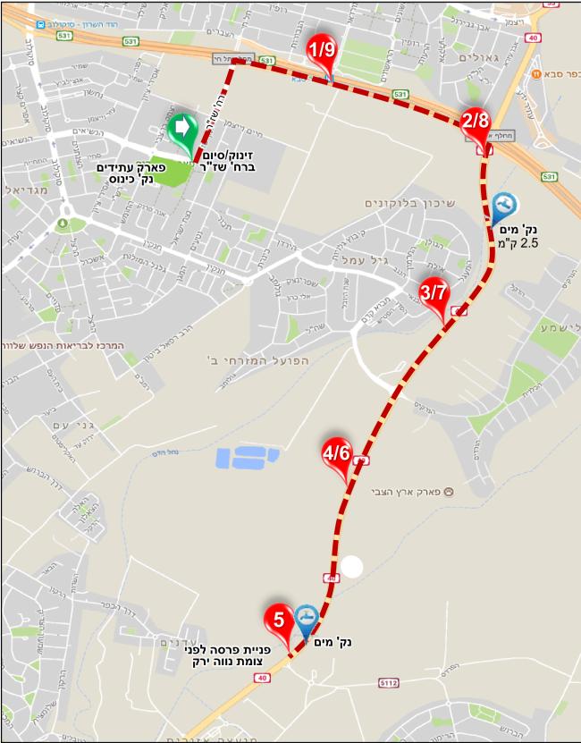 מפות המסלולים במרוץ הוד השרון 2018