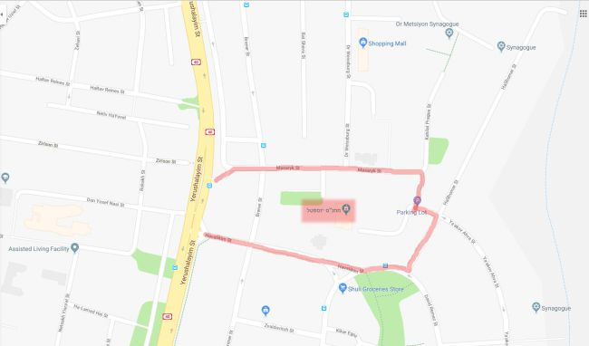 מפת ההגעה למרוץ יוספטל 2019