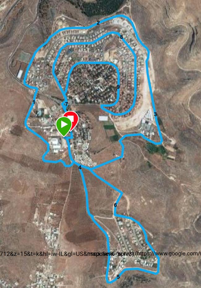 מפת מסלול 10 קמ במרוץ תקוע