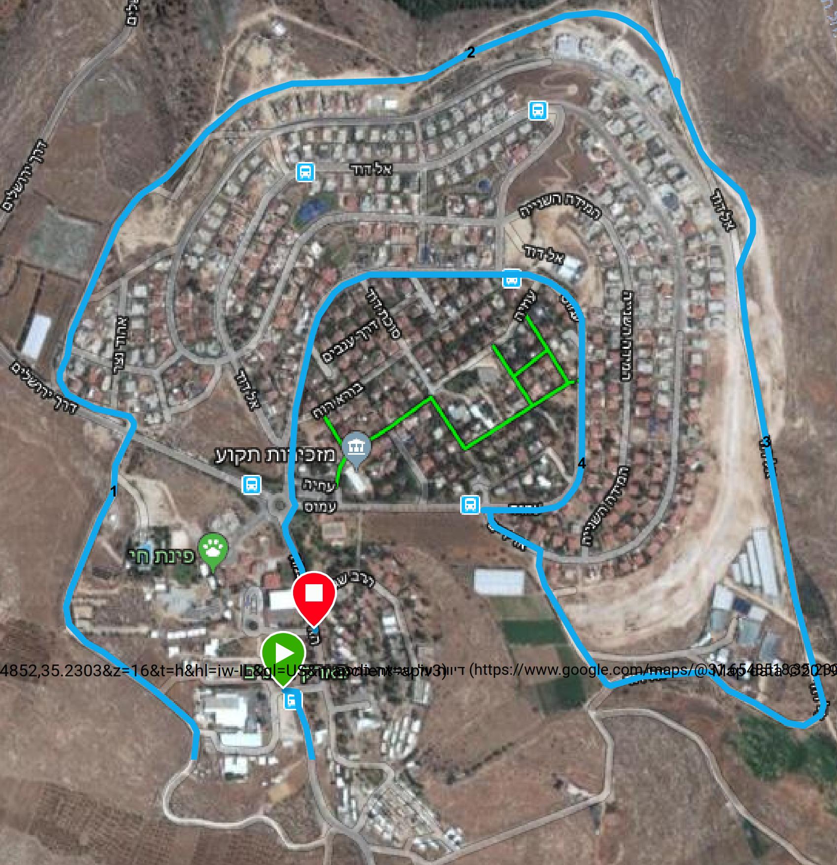 מפת מסלול 5 קמ במרוץ תקוע
